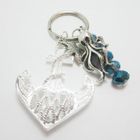 Large Silver Filigree Anchor Keychain Seahorse or Octopus Charm You Choose