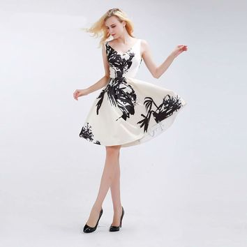 Floral Print Short Prom Dresses V-neck Sleeveless Simple Backless Elegant Knee-Length Vintage Sexy Party Gowns