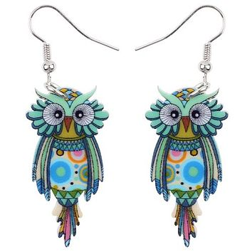Bonsny Animal Acrylic Stud Dangle Drop Owl Birds Big Long Earrings News Fashion Jewelry For Girls Women Teens KIDS Anime Gift