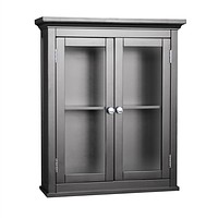 Dark Espresso Bathroom Wall Cabinet with 2 Glass Doors & Adjustable Shelf