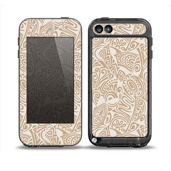 The Tan Abstract Vector Pattern Skin for the iPod Touch 5th Generation frē LifeProof Case