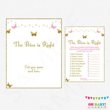 Pink Gold Baby Shower Games, Butterfly Baby Shower Girl, The Price is Right, Baby Price is Right Game + Sign, Download, Printable Baby BTFPG