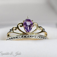Solid 14k Gold Diamond and Teardrop Amethyst Crown Princess Ring