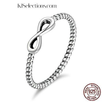 Solid 925 Sterling Silver Infinity Ring Engagement Jewelry