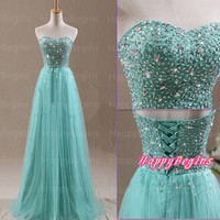 2014 Handmade Beaded Long Prom Dress, Light Green Tulle Prom Dress, Crystal Prom Dress, Formal Dresses, Occasional Dress, Evening Dress