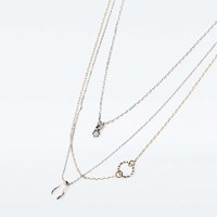 Fine Geo and Wishbone Layering Necklace - Urban Outfitters