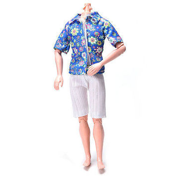 Great Flowery Shirt Suit for Doll Barbie Cloth Short Pants Fashionable Suit HUUS