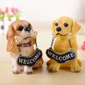 Decor Coffee Dog Figurines Reception Desk