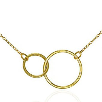 "Double Circle Necklace Eternity Pendant Interlocking Rings .925 Sterling Silver Gold Tone 16-18"" GIFT Box"