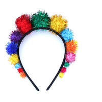 Metallic Rainbow Pom Pom Crown Headband