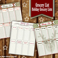 Printable Grocery list - Christmas Grocery List - Holiday Grocery List Printable - Winter Grocery Shopping List - Weekly Grocery List