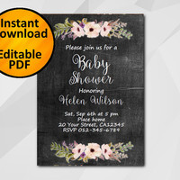 Editable Baby Shower Invitation, Chalkboard Watercolor Invitation, Instant Download diy etsy Baby Shower invitation XB022c-1