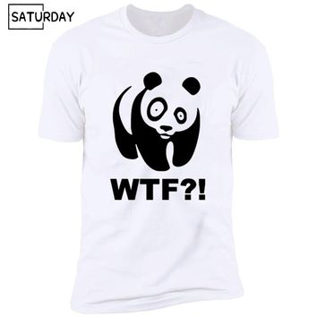 Men's Funny Panda WTF Design Harajuku T-shirts Unisex Casual White Hipster Tee Shirt Men and Women Summer Streewear Graphic Tees