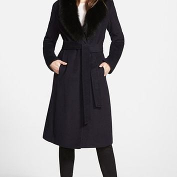 Women's Ellen Tracy Genuine Fox Collar Wool Blend Long Wrap Coat,
