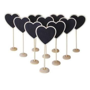 Mini Wooden Heart Blackboard Chalkboard Stands Wedding Table Number Decor Heart = 1932598724