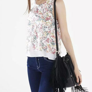 White Floral Print Sleeveless Layered Shirt With Slit