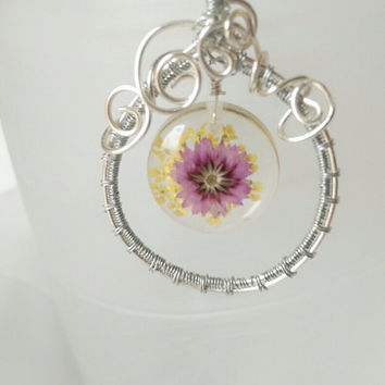 Resin Flower Pendant, Beautiful purple and yellow flower resin necklace, Nature Jewellery, Silver wire wrapped purple flower, gift for her