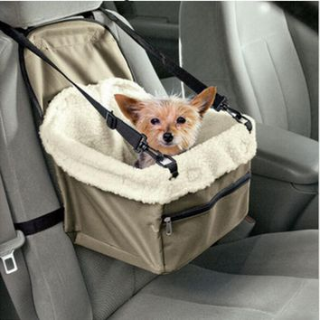 MLITDIS Plush Dog Bag Pet Car Dog Carrier Carry Storage Bag Booster Seat Cover For Travel 2 in 1 Winter Carrier Bucket Basket