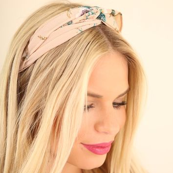 TURBAN STRETCH HEADBAND - FLORAL TAUPE