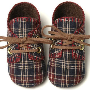 William Baby Boy Shoes Maroon and Blue PlaidTrendy by pink2blue