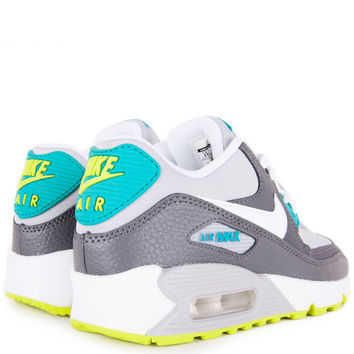 SHOES - KIDS - GRADE SCHOOL - Nike Kids Air Max 90 Grade School - Wolf Grey White Dark Grey Venom Green - Buy Online at DTLR