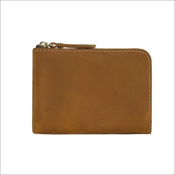 New Arrivals Men Credit ID Card Holders Rustic Crazy Horse Leather Customized Business Unisex Zipper Wallet Cardholder
