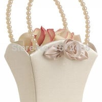 MyNeLo New Arrival champagne Bridal Tapestry Satin Flower Girl Basket Wedding Christmas Favors Accessories