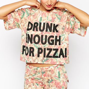 ASOS Drunk Enough For Pizza Pyjama Crop Tee & Short Set