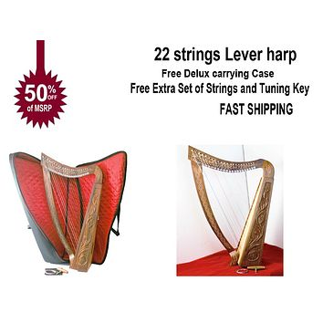 22 strings Lever harp Rose Wood Celtic Design New with Padded Gig Bag, Tuning Key & Extra Strings