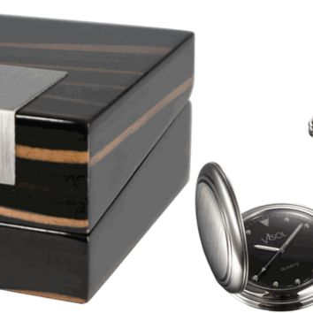 Visol Lux Brushed Stainless Steel Pocket Watch with Gift Box