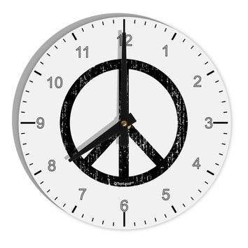 "Peace Sign Symbol - Distressed 8"" Round Wall Clock with Numbers"