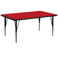 30''W x 72''L Rectangular Activity Table with 1.25'' Thick High Pressure Red Laminate Top and Height Adjustable Pre-School Legs