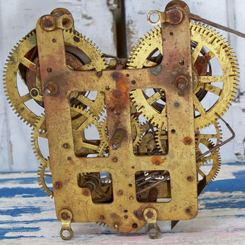 Vintage alarm clock gear workings assembly steam punk supplies Anita Spero
