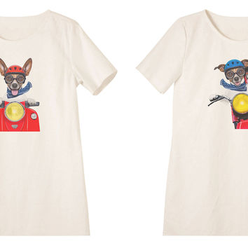 Women Dogs and motorbike Printed Linen Vintage Mini Shift Dress WDS_06