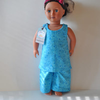 Teal swirl doll pajamas, American girl doll clothes, 18 inch doll clothes.  Doll pajamas, doll sleepwear, doll sleep shirt and pants
