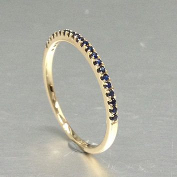 Natural Blue Sapphire Wedding Ring,Solid 14K Rose gold,Anniversary Ring,Eternity Band,stackable ring,engagement ring,Matching band,Pave Set