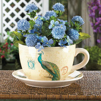 Unique Regal Peacock Teacup Planter