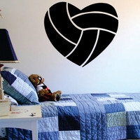 Volleyball Heart Design Sports Decal Sticker Wall Vinyl