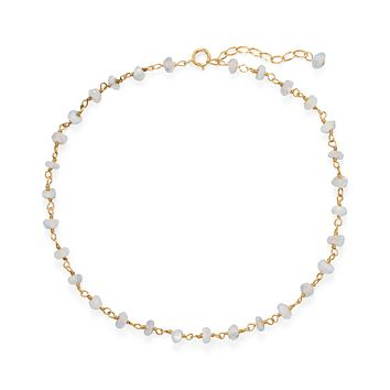 Gold Plated Sterling Silver Rainbow Moonstone Bead Anklet