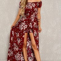 Sexy Wine Floral Off Shoulder Maxi Romper