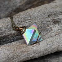 Angel Aura Quartz Necklace - Pyramid Jewelry - Angel Quartz Crystal Necklace - Crystal Jewelry - Rainbow Aura Quartz Jewelry - Boho Necklace