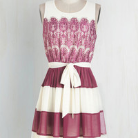 Mid-length Sleeveless A-line Early to Sunrise Dress in Berry