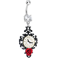 Clear Gem Baroque Clock with Red Rose Dangle Belly Ring | Body Candy Body Jewelry