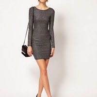 Warehouse Sparkly Bodycon Dress at asos.com