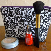 Cosmetic Pouch and Makeup Bag in Purple Damask