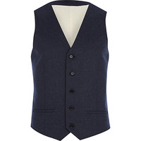 River Island MensDark blue tweed vest