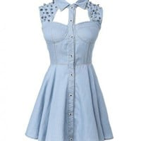 Spiked Stud Denim Dress with Cut-away Design