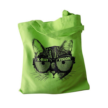 Womens Cat Tote Bag - X-RAY VISION Kitty Totebag