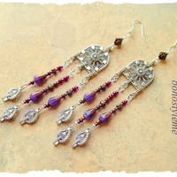 Long Chandelier Earrings, bohostyleme, Bohemian Jewelry, Unique Original Handmade, bohostyleme, Kaye Kraus