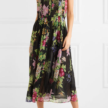 Dodo Bar Or - Crystal-embellished floral-print chiffon midi dress